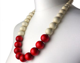 Red and White Long Bead Necklace | Chunky Red and White Necklace | Wooden Beaded Necklace