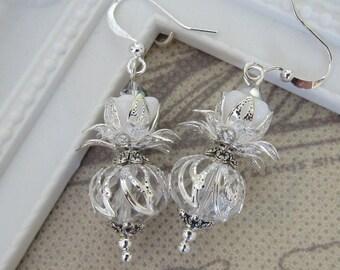Thistle Flower Earrings - Silver