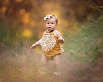 Mustard Girls Rompers Boho Baby Romper Baby Girl Clothing Bohemian Magnolia Style Romper Playsuit Toddler Linen Beach Birthday Shower Gift
