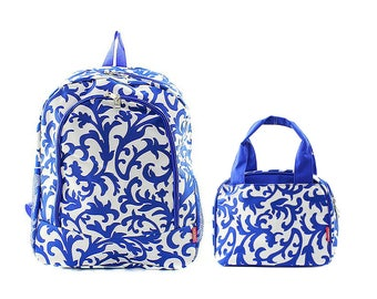 Personalized Royal Blue Damask Backpack and Insulated Lunch Tote Set * Embroidered Bookbag and Lunch Bag with Name or Monogram