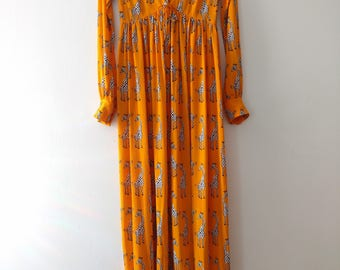 60s 70s Giraffe Print Disco Collar Maxi Dress XS/S {Made in USA}