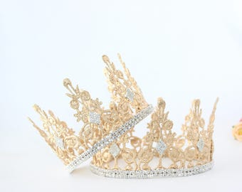 Adult Royal Queen Lace Crown - Quinn - Lace Crown - Gold - Full Size - Adult - Tiara - Princess - Photo Props - Birthday - Mommy & Me