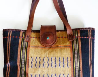 Textile & Leather Tote • Southeast Asia