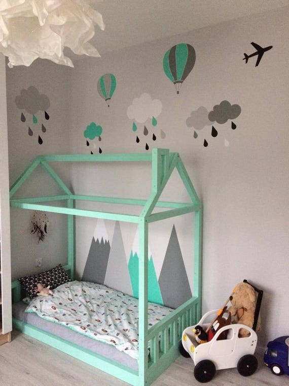 headboard MOUNTAIN Story Nursery Decoration Wall Protection Mountain Pattern Kids Room Gray Wall Art for kids big wall washable decal CGhome