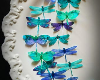 Edible Dragonflies Teal Purple Edible Cupcake Toppers,Set 16