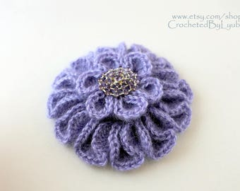 Crochet Brooch, Crochet Jewelry, Unique Crochet Large Flower Lavender Brooch, Handmade Crochet Gift For Women, Mohair Brooch, Ready to Ship