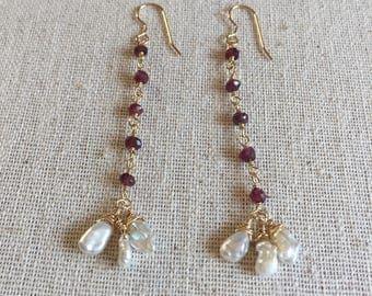 Garnet gemstone and freshwater pearl gold dangle earrings