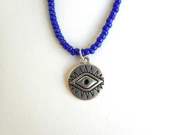 All seeing eye etsy evil eye beaded choker blue beaded choker eye choker blue choker beaded mozeypictures Gallery