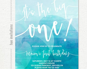 the big one 1st birthday invitation, blue wave boys first birthday invitation, blue ombre watercolor surfing beach ocean waves digital file