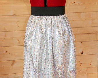 Silver and White Mermaid Scale Elasticated Waist Skirt