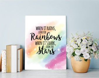 Look for Rainbows Inspirational Printables - Instant Download Inspirational Quotes