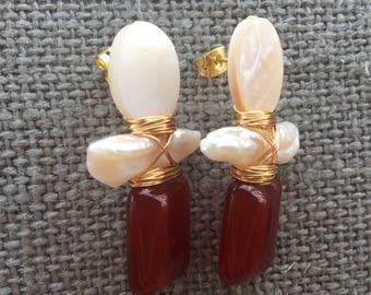 Mother of Pearl + Freshwater Pearl + Carnelian Earrings
