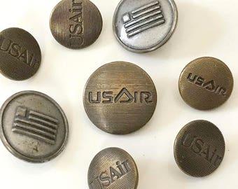 Vintage U.S. Airways Uniform Buttons, Set of Eight
