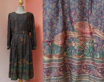 Paisley Dress 80s Dress Japanese Dress Vintage Dress 1980s Dress Women Dress Retro Dress Animal Print Midi Dress Long Sleeve Medium Size 8