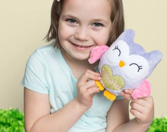 Personalized Easter Stuffed Animal for Little Girl, Easter Basket Stuffer, Owl Plushie