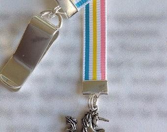 ON SALE Unicorn Bookmark / Rainbow Unicorn Bookmark / Unicorn Lover Bookmark / Attach clip to book cover, never lose your bookmark!
