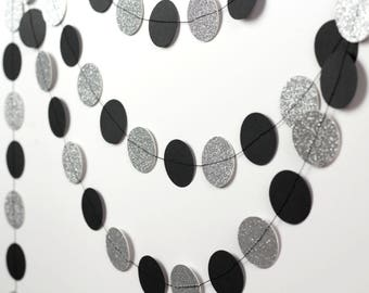 Silver Glitter and Black Paper Garland - Black and Silver Party Decor - Glitter Garland - Dot Garland