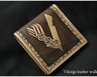 Vikings - Norse Viking bifold leather wallet