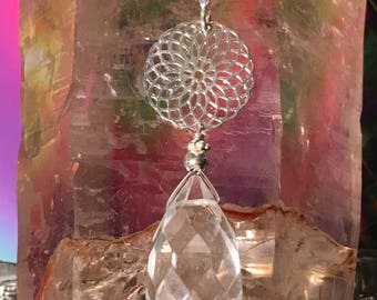 Master Healer ~ Sacred Geometry and Clear Quartz with Sterling Silver