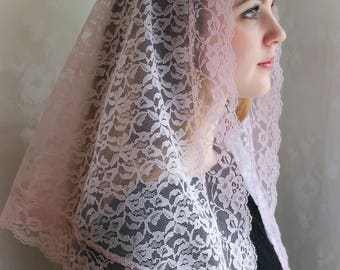 Evintage Veils~ Our Lady  Mystical Rose Pink Lace Chapel Veil Mantilla Triangle Veil