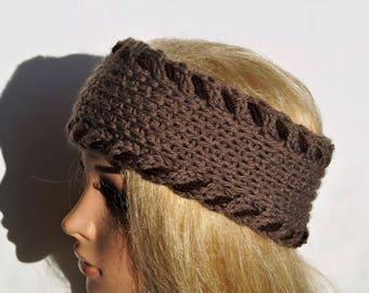 Brown Ear Warmer,Merino Wool Ear Warmer,Ear Warmer Headband,Wool Headband,Knitted Ear Warmer,Handmade Headband,Wool Ear warmer, Knitted Band