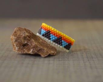 Seed  beaded ring Native ring Geometric ring Boho ring Delica ring Women ring Colorful ring Ethnic ring Modern ring Tribal ring Band ring