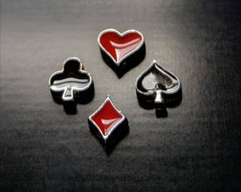 Card Suit Floating Charm for Floating Lockets-Club, heart, Spade, or Diamond-1 Piece-Gift Idea