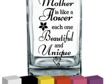 A mother is like a Flower Vinyl for Vase / Decal / Sticker/ Graphic