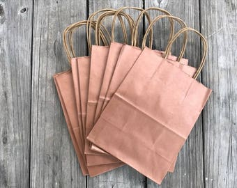 """50 Pack - Rose Gold Gift Bags with Handles- Wedding Welcome Bags - 8""""x4""""x10""""Copper Rose Gold"""