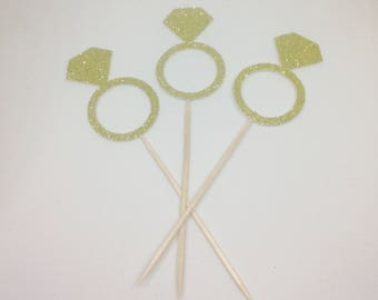 12 Diamond Ring Glitter Cupcake Toppers - Engagement Party Decorations - Hen Party - Wedding - Bachelorette