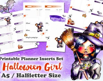 Spooky Halloween Girl - printable Inserts Set for Planner A5 / Halfletter Size - Day on 1 Page - 1 Week on 2 Pages