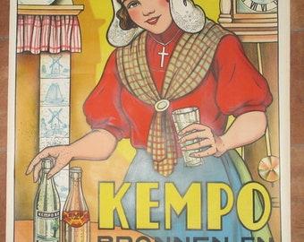 "antique paper advertising "" Kempo  Bronnen en Limonaden""  soft drinks & water folcloristic lady"