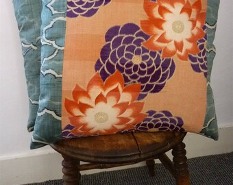 Burnt Orange Purple Kiku Floral Green Cloud Vintage Japanese Yukata Cotton & Silk Kimono Fabric Pillow Cushion Cover