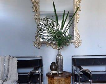 Bone inlay faux tropical leaf Monstera home decor wedding wall art plant silk plastic interior Moroccan Indian set