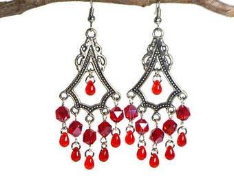 Red Teardrop Chandelier Earrings, Posts, Hooks, Clip ons, Lever backs Anniversary Birthday Bridesmaids Wedding Gift