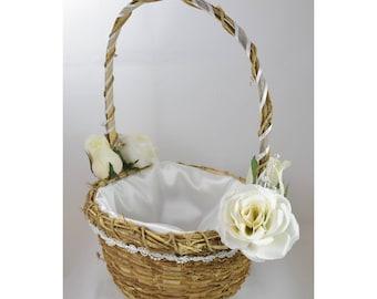 White Wicker Flower Girl Basket - White Roses - Satin Lining