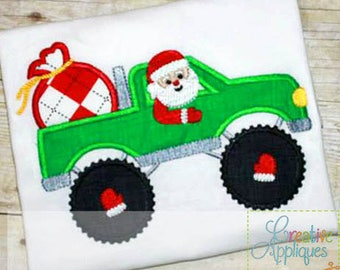 Monster Truck Santa Applique, Santa in A Monster Truck Applique, Boy Christmas Shirt, Santa Applique, Monster Truck Applique, Boy XMAS Tee