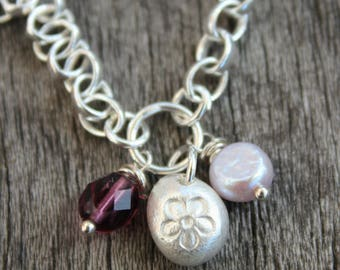 Swarovski crystal cluster silver bracelet, pearl and swarovski bracelet, purple crystal bracelet, purple swarovski, purple pearl bracelet