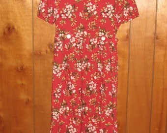 Miss Dorby Size 14 Red Dress with Flowers, Linen/Rayon Blend, FREE SHIPPING