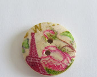 Eiffel Tower pink and green patterned wooden button