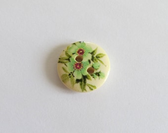 Pink and green flower pattern wooden button