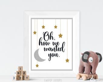 GENDER NEUTRAL NURSERY | Nursery Print | Wall Art | Moon Stars | Adoption | Infertility | Baby Boy | Baby Girl | Baby Shower Gift | Instant
