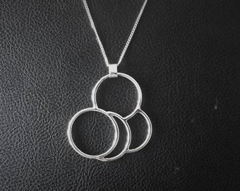 Geometric circles, Handmade silver necklace