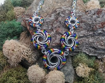 Handmade rainbow spirals chainmaille statement necklace.