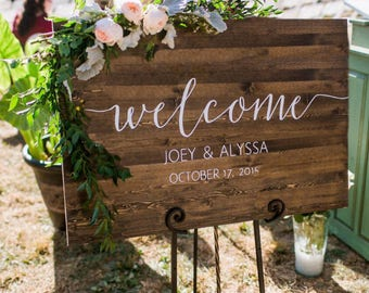 Wedding signs etsy wedding welcome sign rustic wood wedding sign sophia collection junglespirit