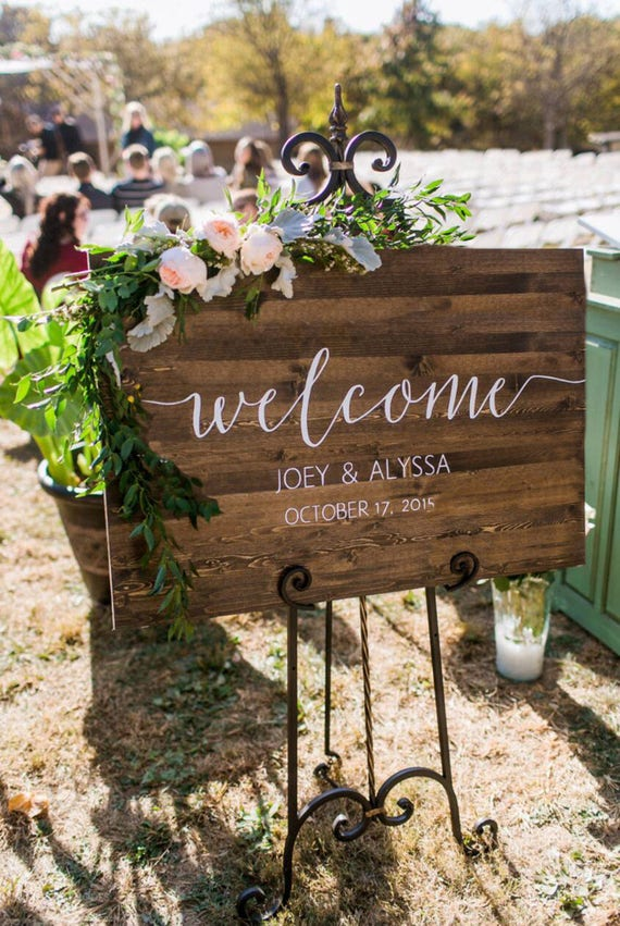 Wedding welcome sign rustic wood wedding sign sophia like this item junglespirit Image collections