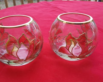 Pair Glass Candle Rose Bowl Lotus Flower Decoration
