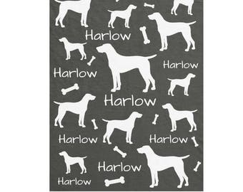 Weimaraner Dog Personalized Blanket - Add Name & Color