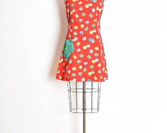 vintage 60s dress, lemon print dress, novelty print dress, 60s clothing, red dress, fruit print dress, apron dress, smock dress, M medium