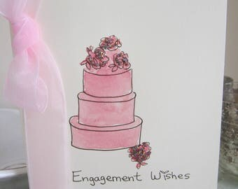 Engagement Card, watercolour original, daughter card, son card, hand painted card, handmade card, engagement gift, engagement